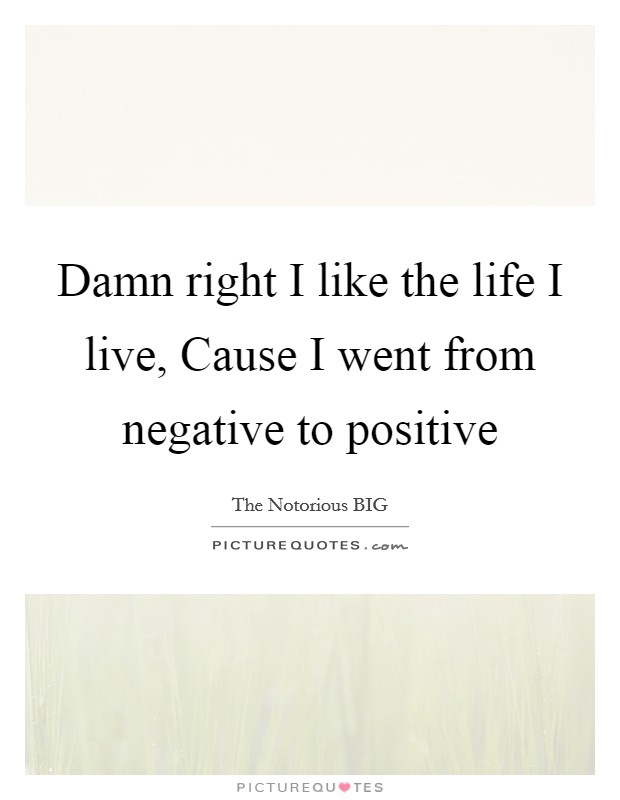 Damn right I like the life I live, Cause I went from negative to positive Picture Quote #1