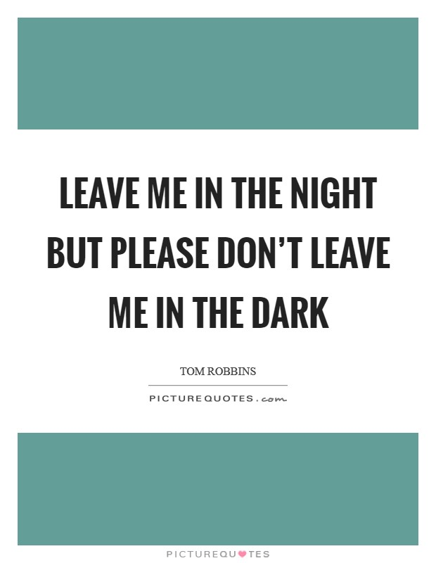Leave me in the night but please don't leave me in the dark Picture Quote #1