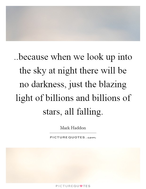 ..because when we look up into the sky at night there will be no darkness, just the blazing light of billions and billions of stars, all falling Picture Quote #1