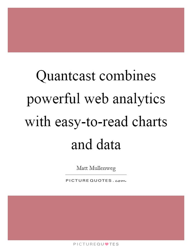 Quantcast combines powerful web analytics with easy-to-read charts and data Picture Quote #1