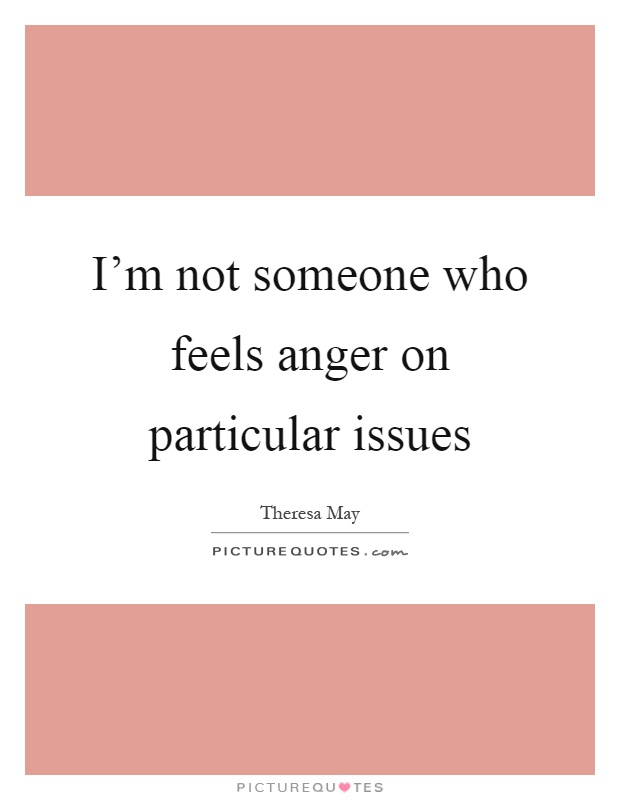 Anger Issues Quotes: I'm Not Someone Who Feels Anger On Particular Issues