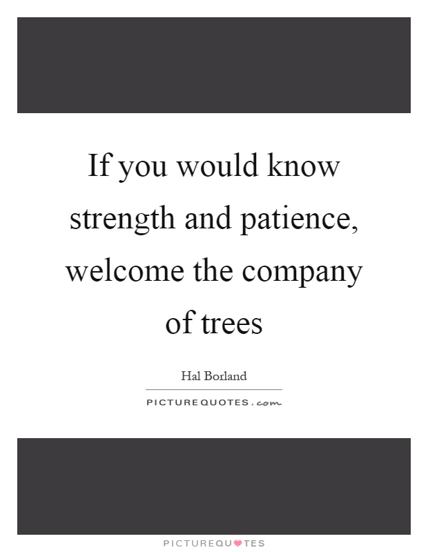 If you would know strength and patience, welcome the company of trees Picture Quote #1