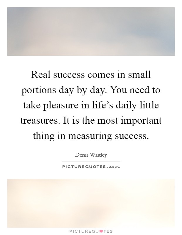 Real success comes in small portions day by day. You need to take pleasure in life's daily little treasures. It is the most important thing in measuring success Picture Quote #1