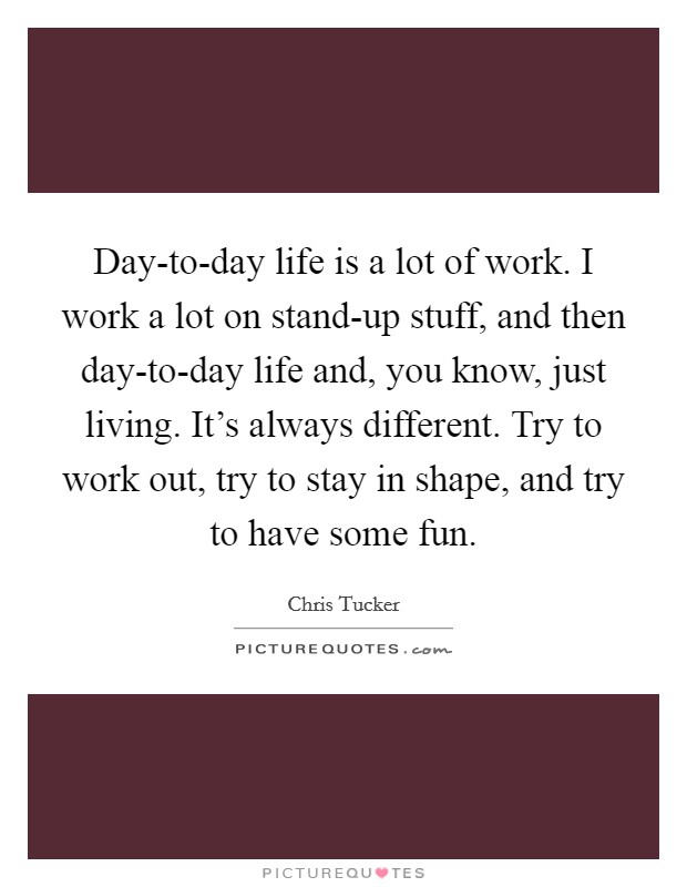 Day-to-day life is a lot of work. I work a lot on stand-up stuff, and then day-to-day life and, you know, just living. It's always different. Try to work out, try to stay in shape, and try to have some fun Picture Quote #1