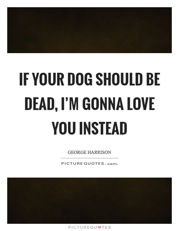 If your dog should be dead, I'm gonna love you instead Picture Quote #1