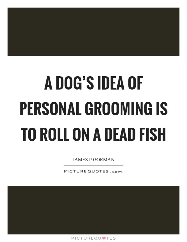 A dog's idea of personal grooming is to roll on a dead fish Picture Quote #1