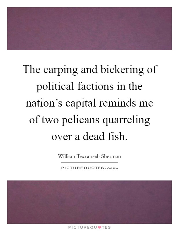 The carping and bickering of political factions in the nation's capital reminds me of two pelicans quarreling over a dead fish Picture Quote #1