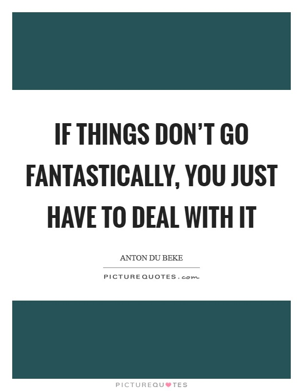If things don't go fantastically, you just have to deal with it Picture Quote #1