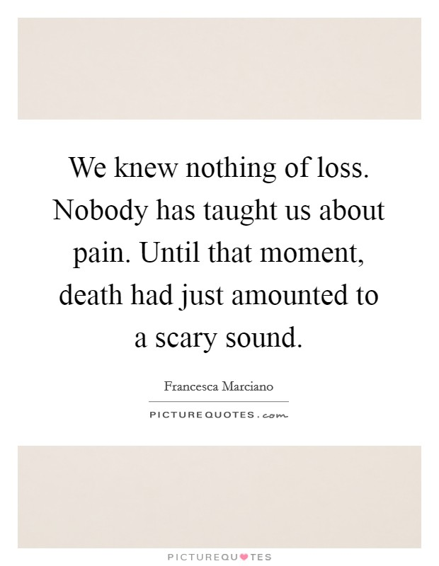 We knew nothing of loss. Nobody has taught us about pain. Until that moment, death had just amounted to a scary sound Picture Quote #1