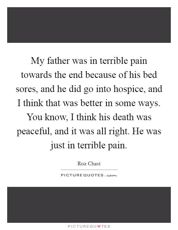 My father was in terrible pain towards the end because of his bed sores, and he did go into hospice, and I think that was better in some ways. You know, I think his death was peaceful, and it was all right. He was just in terrible pain Picture Quote #1