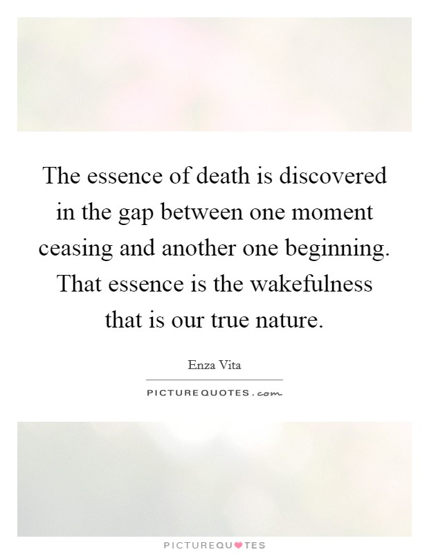 The essence of death is discovered in the gap between one moment ceasing and another one beginning. That essence is the wakefulness that is our true nature Picture Quote #1