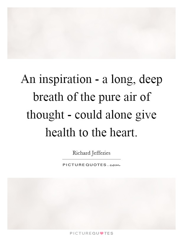 An inspiration - a long, deep breath of the pure air of thought - could alone give health to the heart Picture Quote #1