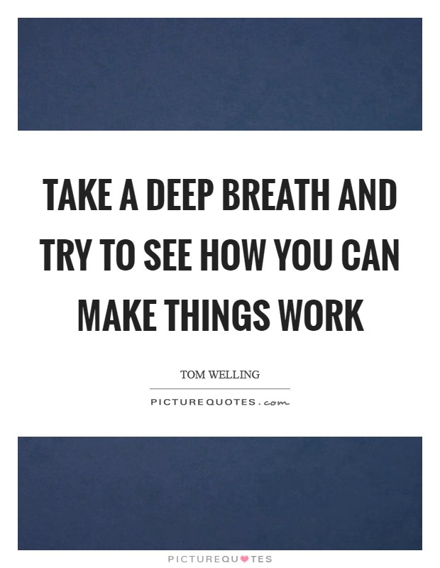 Take a deep breath and try to see how you can make things work Picture Quote #1
