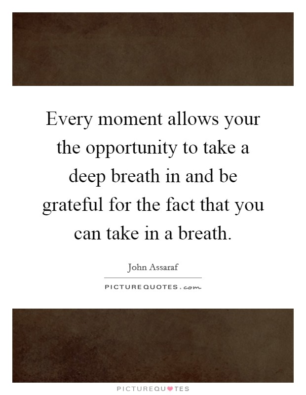 Every moment allows your the opportunity to take a deep breath in and be grateful for the fact that you can take in a breath Picture Quote #1