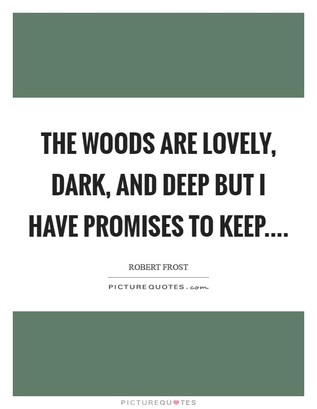 The woods are lovely, dark, and deep but I have promises to keep Picture Quote #1