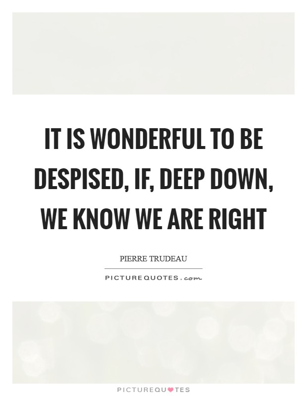 It is wonderful to be despised, if, deep down, we know we are right Picture Quote #1