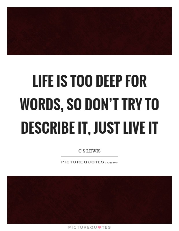 Life is too deep for words, so don't try to describe it, just live it Picture Quote #1
