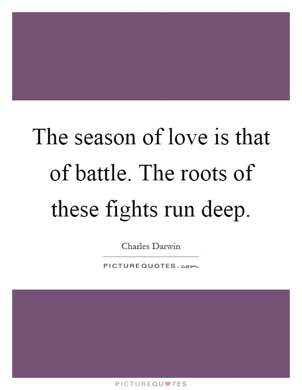 The season of love is that of battle. The roots of these fights run deep Picture Quote #1