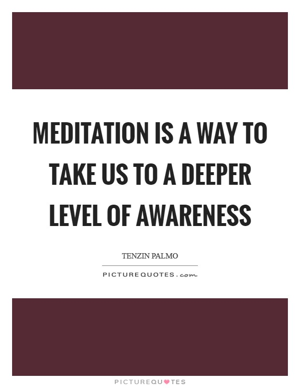 Meditation is a way to take us to a deeper level of awareness Picture Quote #1