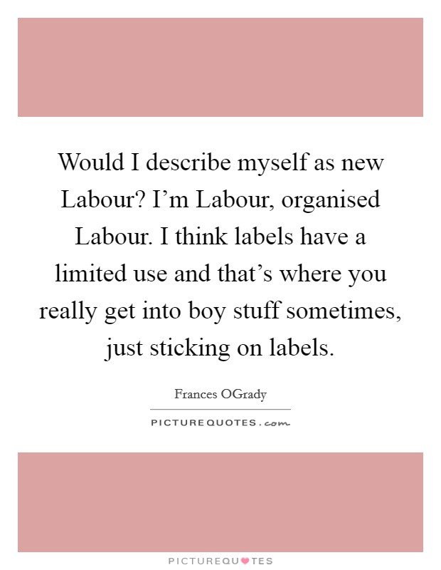 Would I describe myself as new Labour? I'm Labour, organised Labour. I think labels have a limited use and that's where you really get into boy stuff sometimes, just sticking on labels Picture Quote #1