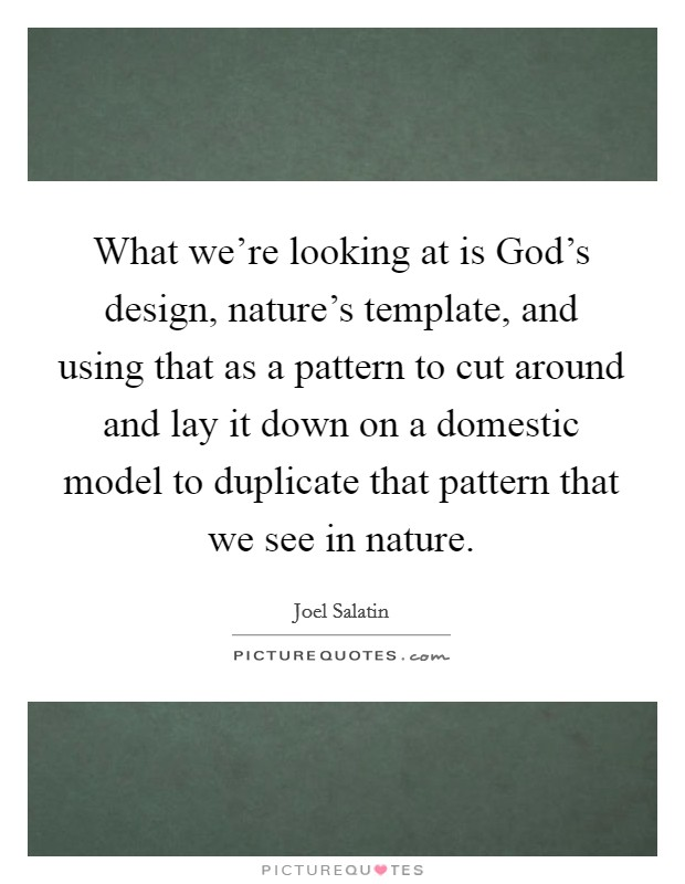 What we're looking at is God's design, nature's template, and using that as a pattern to cut around and lay it down on a domestic model to duplicate that pattern that we see in nature Picture Quote #1