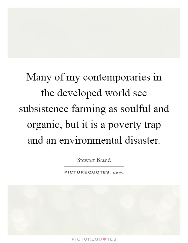 Many of my contemporaries in the developed world see subsistence farming as soulful and organic, but it is a poverty trap and an environmental disaster Picture Quote #1