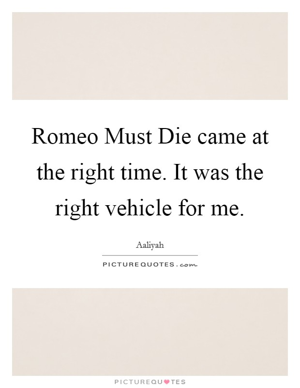 Romeo Must Die came at the right time. It was the right vehicle for me Picture Quote #1