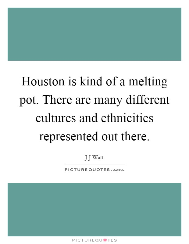 Houston is kind of a melting pot. There are many different cultures and ethnicities represented out there Picture Quote #1