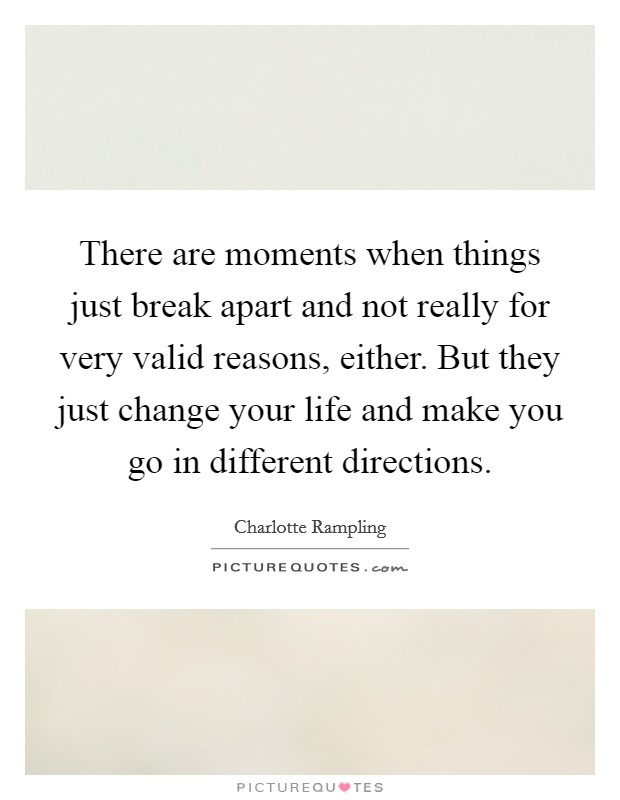 There are moments when things just break apart and not really for very valid reasons, either. But they just change your life and make you go in different directions Picture Quote #1