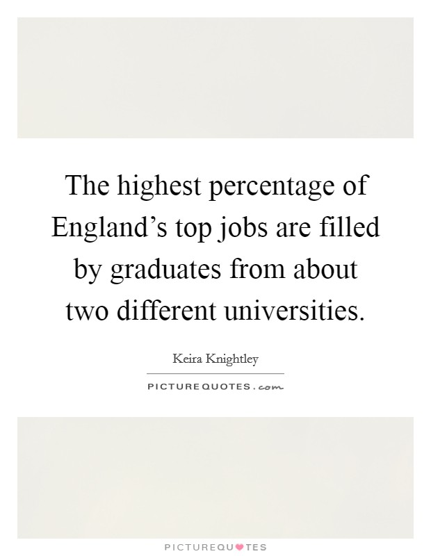 The highest percentage of England's top jobs are filled by graduates from about two different universities Picture Quote #1