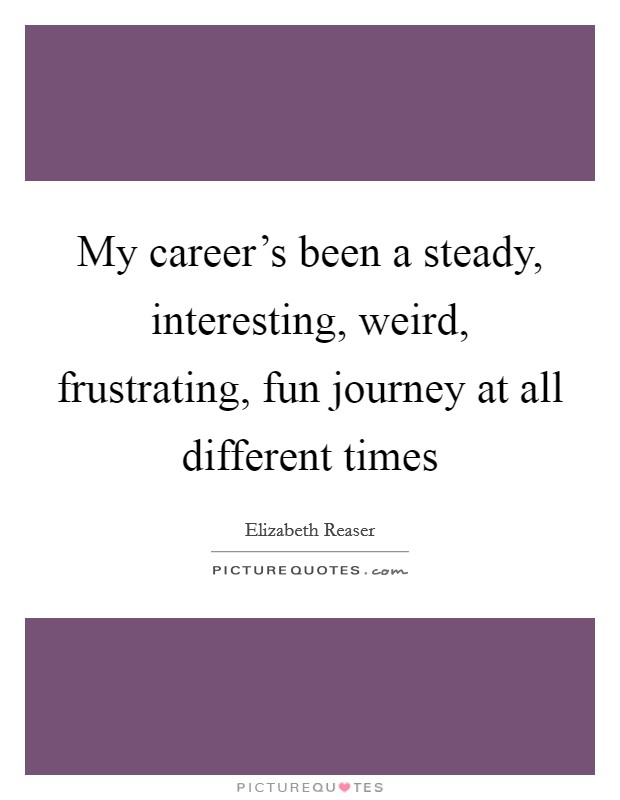 My career's been a steady, interesting, weird, frustrating, fun journey at all different times Picture Quote #1