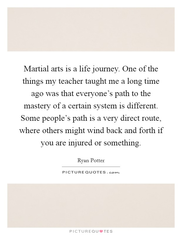 Martial arts is a life journey. One of the things my teacher taught me a long time ago was that everyone's path to the mastery of a certain system is different. Some people's path is a very direct route, where others might wind back and forth if you are injured or something Picture Quote #1