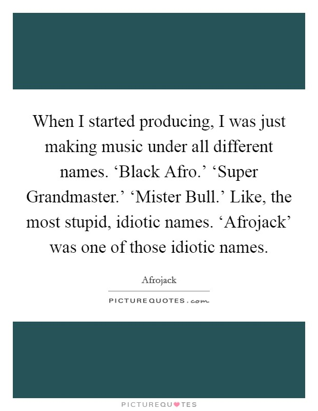 When I started producing, I was just making music under all different names. 'Black Afro.' 'Super Grandmaster.' 'Mister Bull.' Like, the most stupid, idiotic names. 'Afrojack' was one of those idiotic names Picture Quote #1