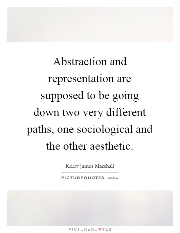 Abstraction and representation are supposed to be going down two very different paths, one sociological and the other aesthetic. Picture Quote #1