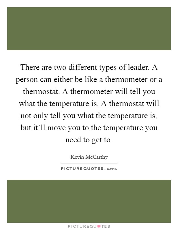 There are two different types of leader. A person can either be like a thermometer or a thermostat. A thermometer will tell you what the temperature is. A thermostat will not only tell you what the temperature is, but it'll move you to the temperature you need to get to Picture Quote #1