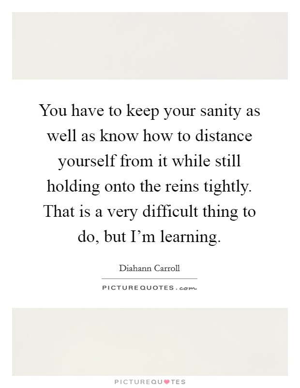 You have to keep your sanity as well as know how to distance yourself from it while still holding onto the reins tightly. That is a very difficult thing to do, but I'm learning Picture Quote #1