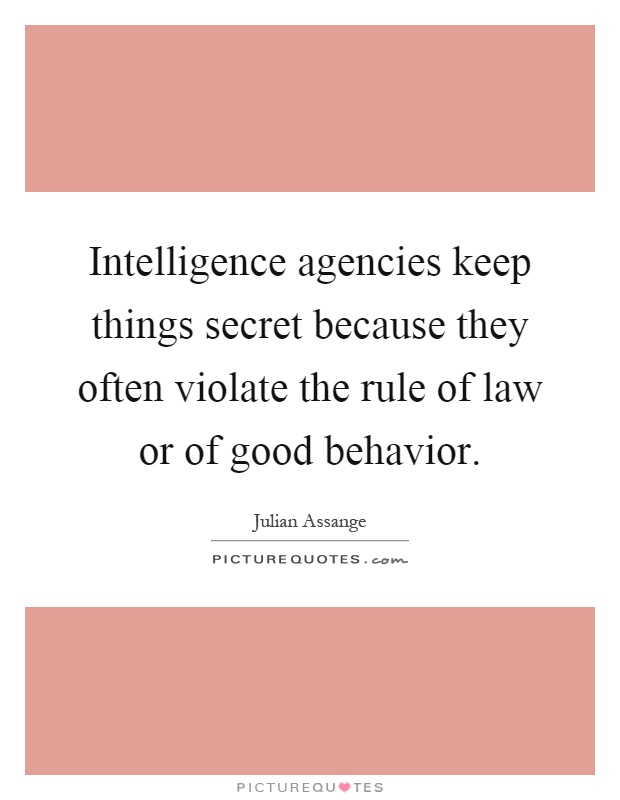 Intelligence agencies keep things secret because they often violate the rule of law or of good behavior Picture Quote #1