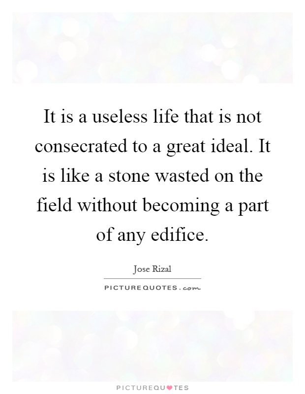It is a useless life that is not consecrated to a great ideal. It is like a stone wasted on the field without becoming a part of any edifice Picture Quote #1
