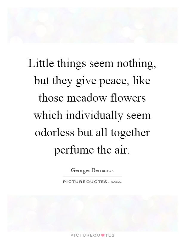 Little things seem nothing, but they give peace, like those meadow flowers which individually seem odorless but all together perfume the air Picture Quote #1