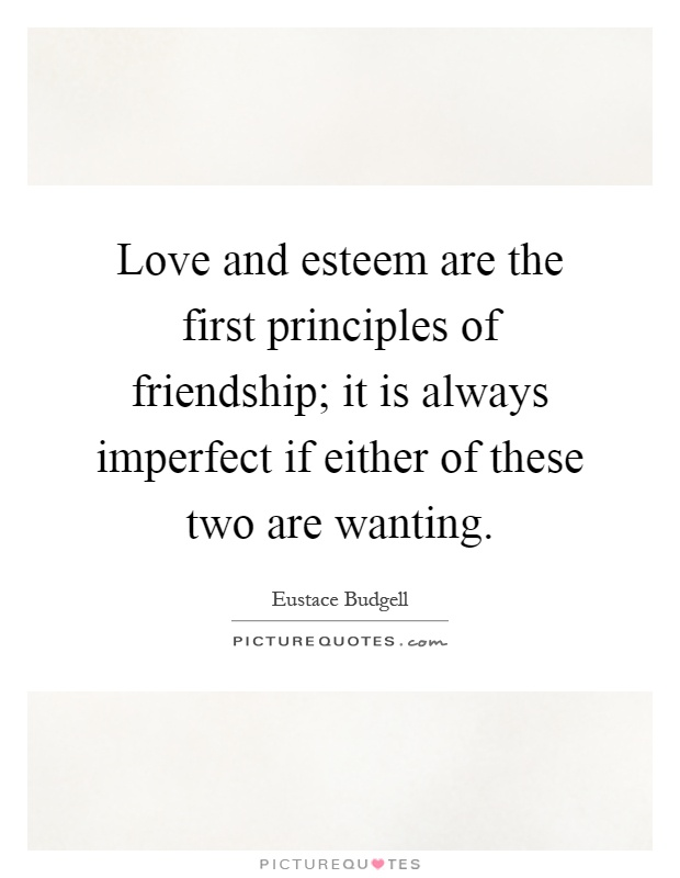 Love and esteem are the first principles of friendship; it is always imperfect if either of these two are wanting Picture Quote #1