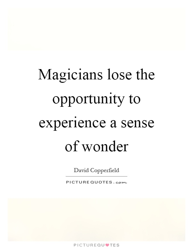 Magicians lose the opportunity to experience a sense of wonder Picture Quote #1