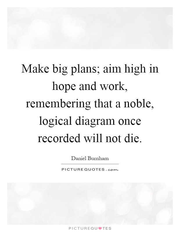 Make big plans; aim high in hope and work, remembering that a noble, logical diagram once recorded will not die Picture Quote #1