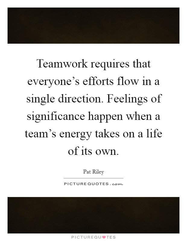 Teamwork requires that everyone's efforts flow in a single direction. Feelings of significance happen when a team's energy takes on a life of its own Picture Quote #1