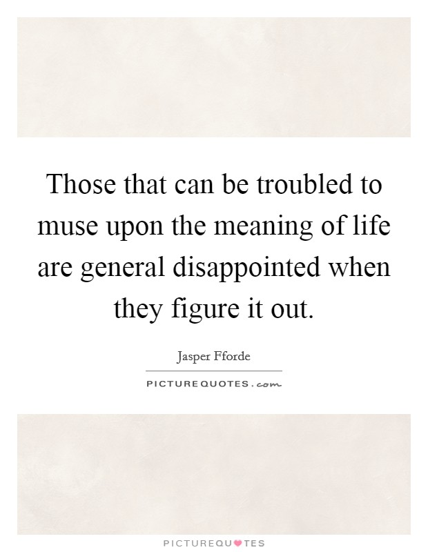 Those that can be troubled to muse upon the meaning of life are general disappointed when they figure it out Picture Quote #1