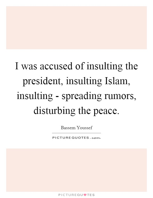 I was accused of insulting the president, insulting Islam, insulting - spreading rumors, disturbing the peace Picture Quote #1