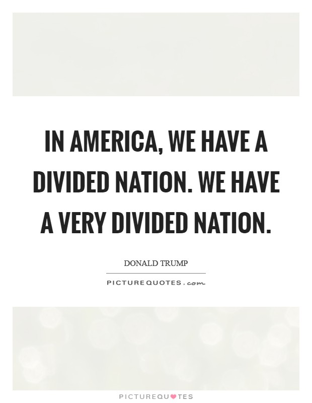 In America, we have a divided nation. We have a very divided nation Picture Quote #1