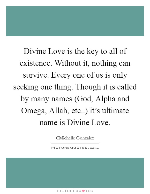 Divine Love is the key to all of existence. Without it, nothing can survive. Every one of us is only seeking one thing. Though it is called by many names (God, Alpha and Omega, Allah, etc..) it's ultimate name is Divine Love Picture Quote #1