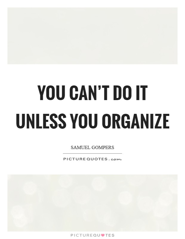 You can't do it unless you organize Picture Quote #1
