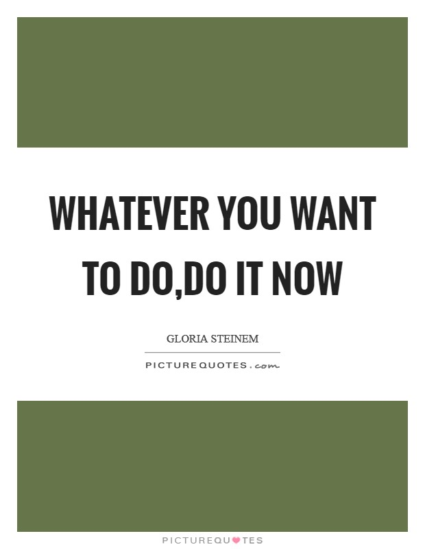 Whatever you want to do,do it now Picture Quote #1