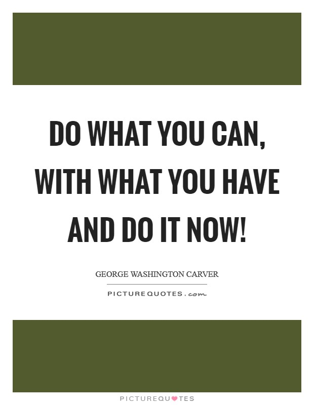 Do what you can, with what you have and do it now! Picture Quote #1